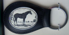 Key Ring Leather Barlow Scrimshaw Carved Painted Thoroughbred Horse 330612 black