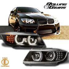 Black Silver-Eyebrow LED DTM Style Headlight Halo Projector BMW E90 E91 05-08