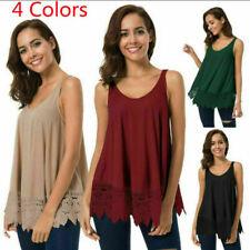 Women Summer Loose Lace Vest Shirt Sleeveless Blouse Casual Tank Tops T-Shirts
