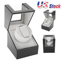 Automatic Rotating Single Wood Watch Winder Wristwatch Display Box Storage Case