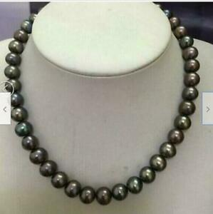 """12-11 MM BLACK AAA+ NATURAL TAHITIAN PEARL NECKLACE 14K GOLD 18"""""""