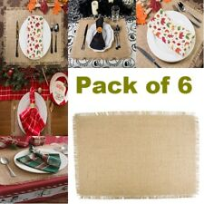 Burlap Place Mats For Kitchen Dinner Table Washable with Lace Rustic Set Of 6