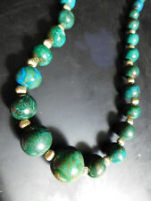 Chrysacolla Graduated Beaded Necklace with Golden Spacer beads 24 inches