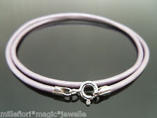 """2mm Metallic Lilac Leather & Sterling Silver Necklace Or Wristband 16"""" 18"""" 20 22"""