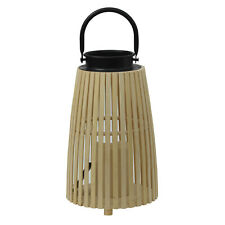 Natural Coloured Wooden Bamboo Battery Operated Indoor Lantern with LED Candle