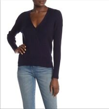 Elodie Ribbed Wrap Sweater Black Size XS