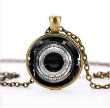 Vintage camera lens Glass Silver Pendant Necklace for men woman jewelry