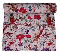 Indian King Size Handmade Birds Print Kantha Flat Sheet Quilt Bedspread Throw