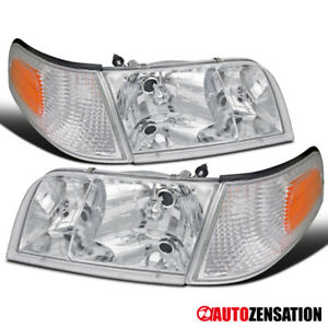 For 1998-2011 Ford Crown Victoria Clear Headlights+Corner Turn Signal Lamps 4PC