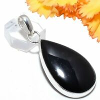 Black Onyx Gemstone Handmade 925 Sterling Silver Jewelry Pendant 2.2