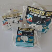 Lot of 3 Wendy's Peanuts 50th Anniversary Collection Toys