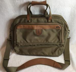 Hartmann Tan Ballistic Nylon Leather Trim Suitcase Carry on Overnight Bag