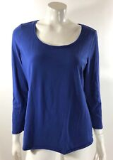 Fashion Bug Womens Top Plus Size 0X Royal Blue 3/4 Sleeve Stretch Knit Shirt