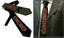 Ukrainian Neck Tie Handkerchief Set Embroidered Vyshyvanka Black Color