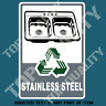 STAINLESS STEEL RECYCLE DECAL STICKER GARBAGE BIN OH&S SAFETY DECALS STICKERS