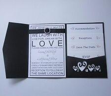 1set - Personalized Hearts Wedding Invitations DIY Pocket Fold Envelopes Invite