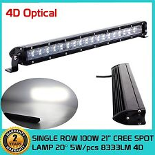 21inch CREE Slim Single Row 100W SPOT LED Light Bar 4D Optical Off-road Jeep SUV