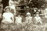 1920s Antique Car w 4 Pretty Young Sisters Girls in a Row Hats Photo