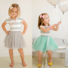 Cute 2-7Y Kid Girl Summer Dress Princess Party Striped Tutu Dress Skirts Clothes
