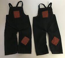 Vintage Lot Of 2 Black & Orange Doll Overalls Clothing