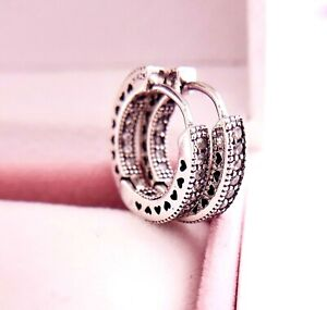 new Authentic Pandora Silver love Hearts of Small Hoop Earrings Clear # 296317CZ