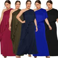 Women One Shoulder Long Maxi Dress Evening Party Ruffle Cocktail Gown Plus Size