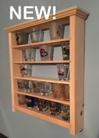 30 Shot Glass Shelf Display Case Knick Knack Rack Collectibles Unfinished Wood