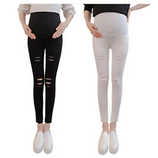 Pregnancy Women Ripped Jeggings Maternity Leggings High Waist Pencil Trousers TR