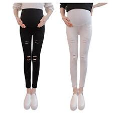 Pregnancy Women Ripped Jeggings Maternity Leggings High Waist Pencil Trousers