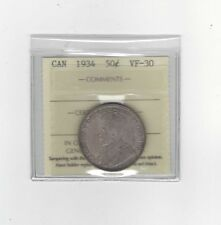 **1934**, ICCS Graded Canadian Silver 50 Cent, **VF-30**