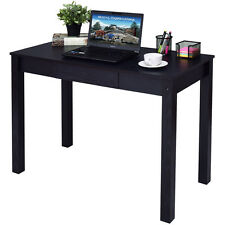 Black Computer Desk Work Station Writing Table Home Office Furniture W/Drawer