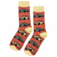 NWT VW Beetle Dress Socks Novelty Men 8-12 Salmon Fun Sockfly