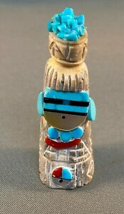 Zuni Carved Antler Kachina Corn Maiden Fetish with Inlays by Amory Cellicion NEW