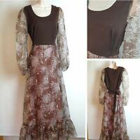 Vintage 70's 12 Brown Long sheer sleeve Hippy Boho Full Length Maxi Long Dress 5