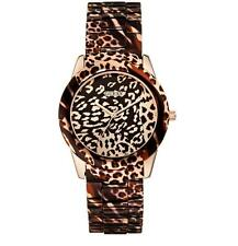 GUESS Leopard-Print and Rose Gold-Tone Modern Sport Watch U0425L3  New***