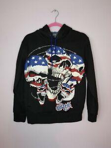 No Fear Unisex Graphic Skull Print Hoodie Uk M Halloween Gothic USA