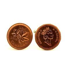 """Boutons de manchettes Pièce de Monnaie Authentique """" Canada """" 1 Cent - Elizabeth"""