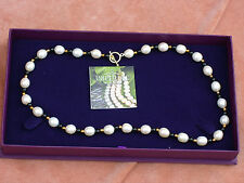 BNIB GENUINE PEARL & BLACK AGATE NECKLACE WITH T BAR CLASP BY IMPERIAL PEARLS