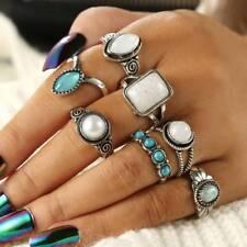 7 PCS/Set VintageKnuckle Opal Stone Finger Ring Set Women Ethnic Boho Jewelry
