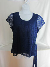 east 5th  Blue Lace Top Blouse XL Satin Belt All Polyester Lined Floral Lace NWT