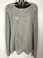 WOMENS GAP GREY CABLE KNITTED JUMPER SWEATER PULL OVER SIZE MEDIUM M