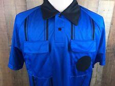 Kwik Goal Soccer Referee Blue Jersey Black Stripes Short Sleeve - Size Medium