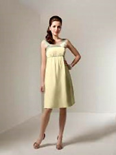 😀 ALFRED ANGELO $179 10 BUTTER YELLOW CHIFFON LETTUCE GREEN SATIN BRIDESMAID
