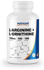 Nutricost L-Arginine L-Ornithine 750mg, 180 Capsules - Non-GMO & Gluten Free