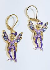 KIRKS FOLLY PIXIE IN PURPLE PASSION  LEVERBACK EARRINGS GOLD TONE NEW 2017