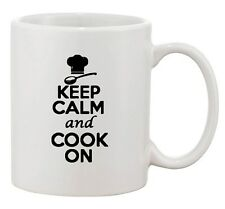 Keep Calm And Cook On Cooking Chef Hat Food Funny Ceramic White Coffee Mug