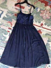 Victoria's Secret Night Gown Long Maxi Lace Up Corset Back Blue Floral M
