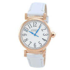 NWT Coach Women Rose Gold Madison Fashion White Saffiano Strap Watch 14501730