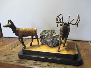 Primitive Wildlife Folk Art Metal and Wood Elk and Cow New Mexico Ranch
