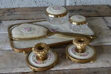Vintage 6 Pc England Dressing Table Vanity Set Petit Point Ceramic Lace